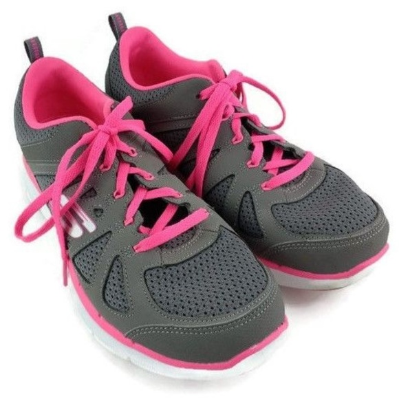 gray and pink skechers